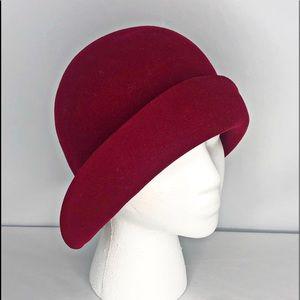 """Vintage Burgundy Wool Cloche Hat """"Mouchoir"""""""